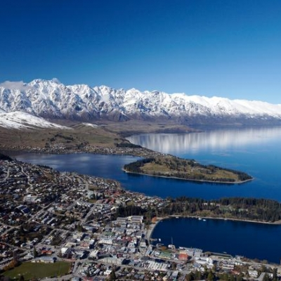Queenstown aerial winter views fromDQ 12 Days New Zealand Geysers to Fiords